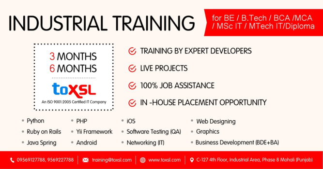 Grab the Best Industrial Training at ToXSL Technologies