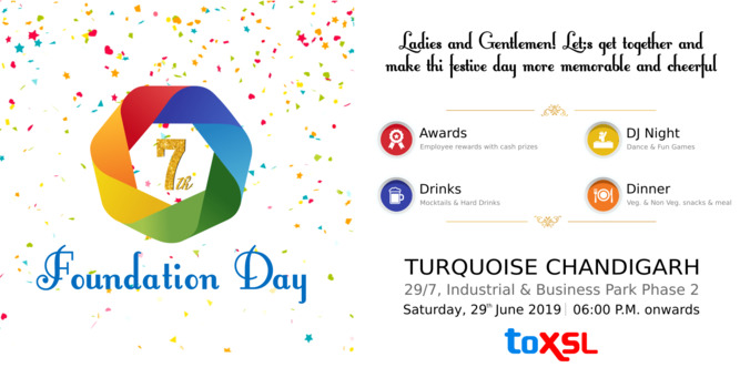 Invitation for the Grand Party as ToXSL turns 7